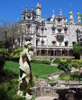 Majestic view with ornate palace Regaleira and beautiful garden(Sintra,Portugal)