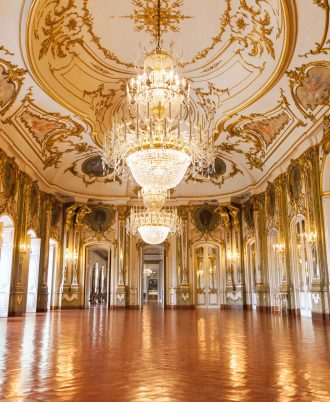The Ballroom of Queluz National Palace, in the municipality of Sintra, Lisbon district, Portugal
