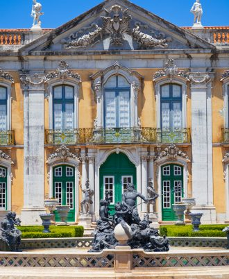 The ceremonial facade of the corps de logis. Queluz National Palace, in the municipality of Sintra, Lisbon district, Portugal