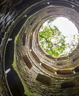 well in beautiful park Quinta da Regaleira located in Sintra, Lisbon Portugal