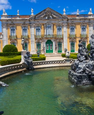 Queluz National Palace: Neptune fountain in front of the Ceremonial facade of the Corps de logis. Municipality of Sintra, Lisbon district, Portugal